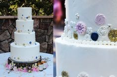 This four-tier buttercream cake features hand-molded sugar vintage buttons in an array of styles colored to match the wedding palette.  superfinebakery.com