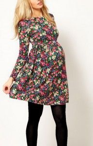 cute maternity dresses ASOS Maternity Skater Dress In Dark Floral at ASOS