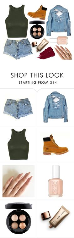 """""""Can I Be Your +1?"""" by anikachu ❤ liked on Polyvore featuring Levi's, High Heels Suicide, Topshop, Timberland, Essie, MAC Cosmetics and Nude by Nature"""