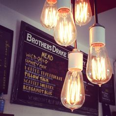 Edison bulb lighting at Brothers Drake Meadery in Columbus