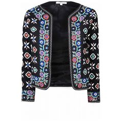 Black Floral Embroidered Jacket ($100) ❤ liked on Polyvore featuring outerwear, jackets, collarless jacket, black collarless jacket, black cropped jacket, print jacket and open front jacket