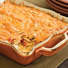 King Ranch Chicken Casserole  There's a reason why recipes for this Texan favorite abound. It travels well, feeds a crowd, and results in delicious leftovers. This version keeps the convenience of using canned soups, but gets its oomph from the addition of oregano, cumin, and chili powder.