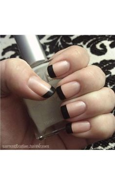 Matte black french manicure i love matte nails Black French Manicure, French Manicure Designs, French Tip Nails, Black Nails, Nail Art Designs, Matte Black, Black Polish, French Manicures, French Manicure With A Twist