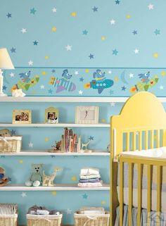 Blue wallpaper kids room. Tapet albastru cu rachete pentru copii. Peek A Boos, Toddler Bed, Baby, Wall Decorations, Furniture, Kids Rooms, Design, Home Decor, Wall Papers
