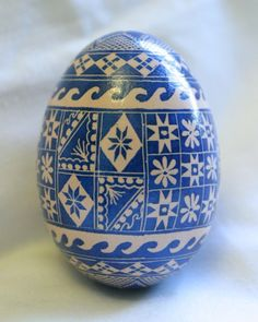 """Cobalt Blue Pysanky Egg Art - I like how this has a """"quilt block"""" feel to it."""