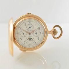 Savonette Herrentaschenuhr in RoseG 585/000 mit Vollkalender, Chronograph & 1/4-Std.- Repetition, S