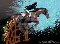 Illustration of a man riding  a horse who jumps a hurdle into a competition of equitation, on a blue background.