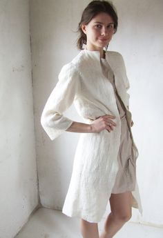 Ivory coat felted eco friendly coat summer fashion white by Baymut, $500.00