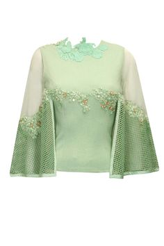 Mint green floral embroidered cape top available only at Pernia's Pop-Up Shop.