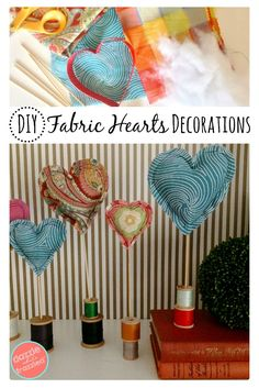 Use fabric scraps to sew easy DIY fabric heart decorations using polyfil and skewers. Makes make cute tabletop Valentine's Day heart display.