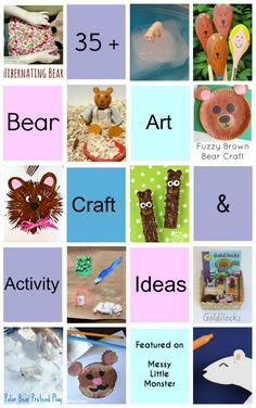 Messy Little Monster: 35+ Bear themed art craft and activity ideas for toddlers and preschoolers