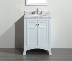 """Eviva EVVN514-24WH New York White Bathroom Vanity, with White Marble Carrera Counter-Top & Sink, 24"""" H"""