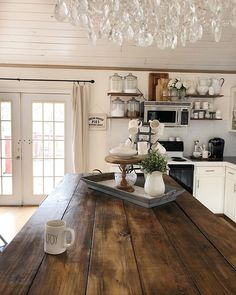 This is the stain I want for the L-shaped table for the eat-in kitchen and the chandelier is perfect!!!!!
