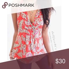 """Anthropologie Akemi + Kin Paisley Top This tank is by brand Anthro brand Akemi + Kin. It's has a bright vibrant red & tan paisley print with a deep v-neck & a faux braided trim around the neck{actual color of item may vary slightly from photos}  •chest:17"""" •waist:17.5""""w •length:24""""   Material:100%cotton  ️hand wash  Fit:true Condition:no rips no stains  ❌no holds ❌no trades ♥️️bundles of 3/more items get 20% off🎊🎊 Anthropologie Tops Tank Tops"""