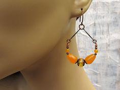 Orange Chandelier earrings  Bohemian Jewelry by Gypsymoondesigns, $16.00