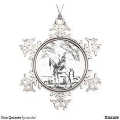 Don Quixote Snowflake Pewter Christmas Ornament #s6gtp
