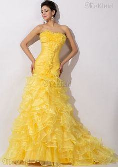 Meerjungfrau Tüll trägerlos geschichtes normale Taille formelles Abendkleid - Bild 1