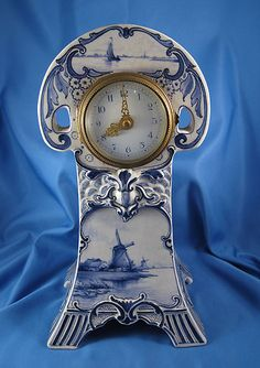 ♥ ~ ♥ Blue and White ♥ ~ ♥ Delft Clock Blue And White China, Love Blue, Red White Blue, Cobalt Blue, Delft, Antique Clocks, Vintage Clocks, Art Nouveau, Clock Shop