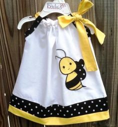 Beautiful Bumble bee pillowcase dress by on Etsy Sewing For Kids, Baby Sewing, Toddler Dress, Baby Dress, Sewing Clothes, Doll Clothes, Little Girl Dresses, Girls Dresses, Pillow Dress