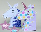 Unicorn Gift Box Set, Princess Unicorn Favor Box Printable for Princess Birthday, Goodie Box, Unicorn Gift Box.