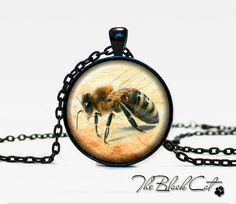 Bee and honey pendant Bee and honey by TheBlackCatPendants on Etsy, $12.95