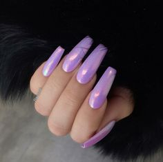 By adding the chrome powder, you can easily turn your acrylic into mirrored chrome nails. Here are some beautiful long chrome nails ideas for you. Pick one and make it now! Hot Nails, Hair And Nails, Gorgeous Nails, Pretty Nails, Crome Nails, Pink Lila, Purple Nails, Pink Purple, Blue Chrome Nails