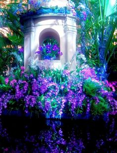 garden design purple plants over the water decorative Garden Of Eden, Dream Garden, Night Garden, Most Beautiful Gardens, Beautiful Flowers, All Things Purple, Purple Stuff, Pink Purple, Purple Plants