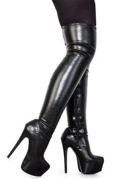 2abddffdbf8 New Womens Black Stretch Ladies Stiletto Concealed Platform Boots Size 5 US…