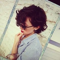 20 Short Curly Hairstyles Ideas - swept forward with far side part