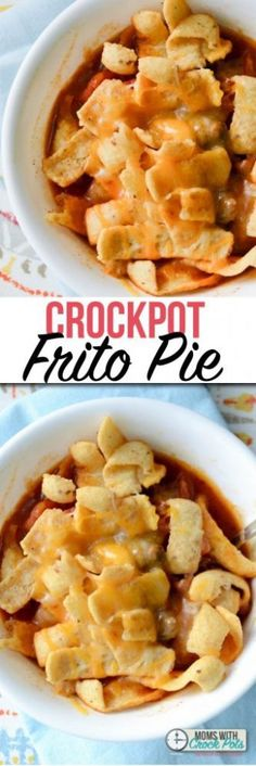 Kid-friendly, mom approved. You have to try this yummy Crockpot Frito Pie Recipe for dinner tonight!  Pull out your slowcooker for this classic meal. #crockpot #recipes #dinner #slowcooker via @MomsWCrockpots