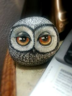 ROCK ART: Grey Owl rock maloval Shelli Bowler by Naturetrail