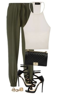 """""""Untitled #115"""" by henal ❤ liked on Polyvore featuring RED Valentino, MINKPINK and Jimmy Choo"""