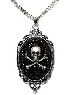 "Women's ""Sparkly Skull"" Cameo Necklace by Diamonds And Coal (Black)"