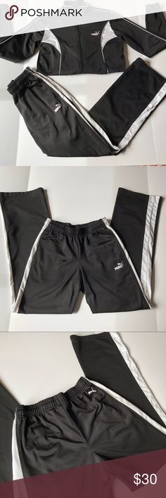 PUMA Black and White Classic Track Pants Wear shown in photos and in good used condition. Matching jacket can be bundled for a private discount. ALL  OFFERS WELCOMED. ☑️ From a smoke free and pet free home ☑️ your order ships within 24 hours! Make sure to check out my other items for an awesome bundle deal! If additional photos needed, please specify of what and where! TOP RATED SELLER, TOP SHARER, FAST SHIPPER & POSH AMBASSADOR 💃🏽 Puma Pants Track Pants & Joggers