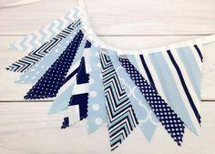 Bunting Fabric Banner, Fabric Flags, Boy Nursery Decor, Birthday Decoration - Baby Blue,Navy Blue,Chevron,Dots,Light Blue,Damask