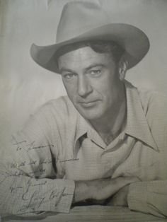 COOPER GARY: (1901-1961) American Actor, Academy Award winner. Vintage signed and inscribed 11 x 14 photograph of Cooper in a head and shoulders pose wearing a Stetson cowboy hat. Signed in blue fountain pen ink to a clear area of the image, 'To Linda, with all the best wishes in the world from your friend Gary Cooper'.