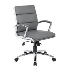Boss Office Products Grey Contemporary Manager Chair at Lowe's. The mid-back executive CaressoftPlus chair in grey with the metal chrome finish is as comfortable as it is handsome. The chair utilizes a two paddle Executive Office Chairs, Conference Chairs, Mesh Office Chair, High Back Chairs, Grey Chair, Modern Chairs, Bar Chairs, Room Chairs, Desk Chairs