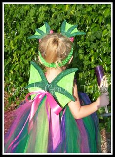 FAIRYTALE DRAGON Tutu Dress in Shades of Green, Pink and Purple with Sparkly Dragon Wings and Dragon Ear Clippies