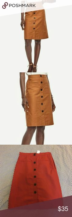 Ann Taylor Rust Button Down Skirt Very cute brand new button down a line skirt from Ann Taylor. I love it but my work place is too casual and it's slightly too big. Runs larger than a traditional 0. More like a 2-4. Color on model is different than the product I have. See all pictures! Ann Taylor Skirts Midi