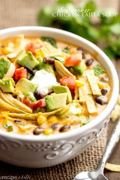 Slow Cooker Chicken Fajita Soup. I would add sliced green/red peppers & onions to make it truly a fajita soup.