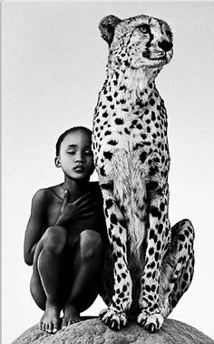 Bushmen Tribe Girl and Cheetah by Gregory Colbert from 'ashes & snow'~♛