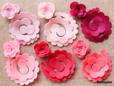 Perfectly Pink  3D Rolled Roses Large  12 Die Cut by bbdsupplies