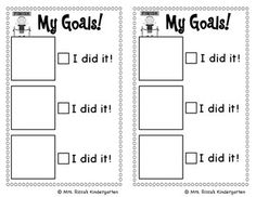 Kindergarten Awards And Goal Setting Sheet  Kindergarten Goals