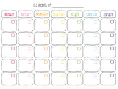 7 Best Images of Cute Printable Blank Calendar - Cute Blank Monthly Calendar Printable, Cute Blank Printable Calendars and Free Printable Blank Calendar Template Blank Monthly Calendar, Printable Calendar Template, Kids Calendar, Monthly Planner, Planner Pages, Printable Planner, Free Printables, Calendar Journal, Planner Organization