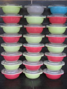 """Pyrex 080 8 oz """"Party Pan"""" or """"Individual Casserole"""" dishes.    I recently picked up two pink and one lime. Intend to use them for buffet style dining, leftovers, and fruit salads, etc."""