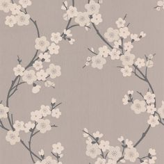 Fleur de cerisier Taupe / Papier peint Gris anthracite par Graham and Brown