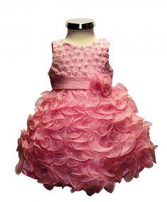 BIMARO Baby Mädchen Kleid Sophia rosa pink edle Perlen Rüschen festlich Kleinkind Hochzeit Taufe Fest Party  001