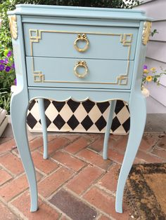 """French Provencial table painted with Miss Lillian's Chock paint """"Just Duckie"""" with gold gilding wax by Les Jolie Couleurs"""