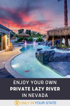 If you're looking for the luxury vacation of a lifetime, travel to Las Vegas, Nevada and rent this beautiful home with a waterfall pool and lazy river. This tropical oasis with a swim-up bar, grotto, and more, and it can be your own personal, private paradise. It sleeps up to 16, making it perfect for bachelorette parties, or trips with family and friends. Amazing Destinations, Vacation Destinations, Vacation Trips, Vacation Spots, Vacation Ideas, Vegas Getaway, Las Vegas Trip, Lazy River Pool, Forest Resort
