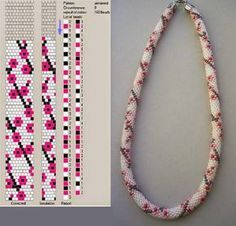Funky Pop Art Looking Roses Bead Crochet Rope. I like the colors in the picture below the pattern . Change all colors around for different funky looks. Crochet Bracelet Pattern, Crochet Beaded Bracelets, Bead Crochet Patterns, Bead Crochet Rope, Beading Patterns, Beaded Crochet, Beaded Beads, Beads And Wire, Jewelry Patterns